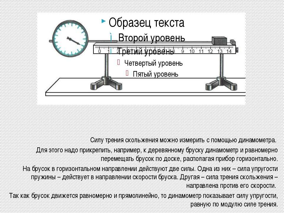 Силу трения скольжения можно измерить с помощью динамометра. Для этого надо п...