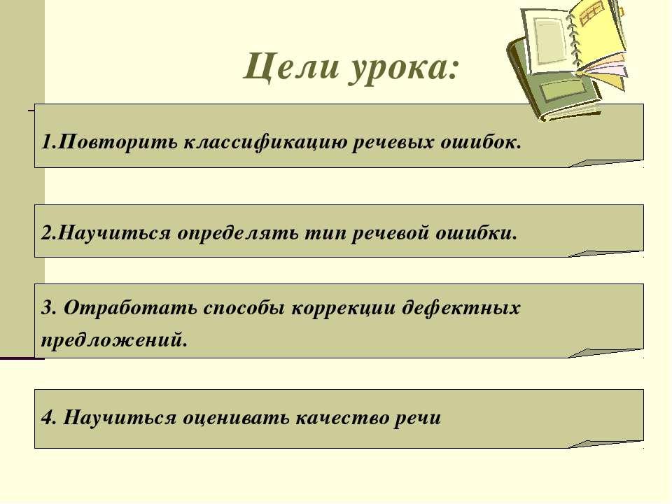 Цели урока: 1.Повторить классификацию речевых ошибок. 2.Научиться определять ...