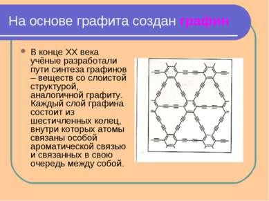 На основе графита создан графин В конце XX века учёные разработали пути синте...
