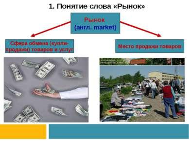 1. Понятие слова «Рынок» Рынок (англ. market) Сфера обмена (купли- продажи) т...