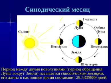 Синодический месяц Период между двумя новолуниями (период обращения Луны вокр...