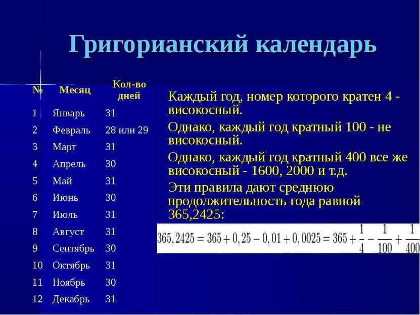 Григорианский календарь Каждый год, номер которого кратен 4 - високосный. Одн...