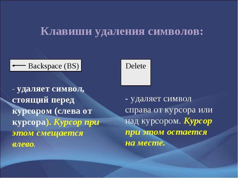Клавиши удаления символов: - удаляет символ, стоящий перед курсором (слева от...