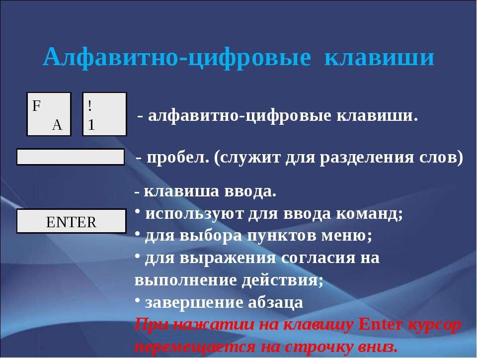 Алфавитно-цифровые клавиши ENTER - алфавитно-цифровые клавиши. - пробел. (слу...