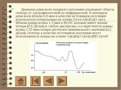 Диапазон длин волн лазерного излучения охватывает область спектра от ул...