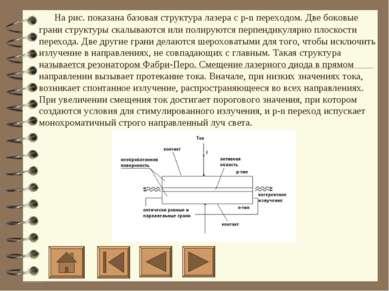 На рис. показана базовая структура лазера с p-n переходом. Две боковые ...