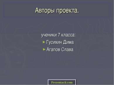 Авторы проекта. ученики 7 класса: Гусихин Дима Агапов Слава