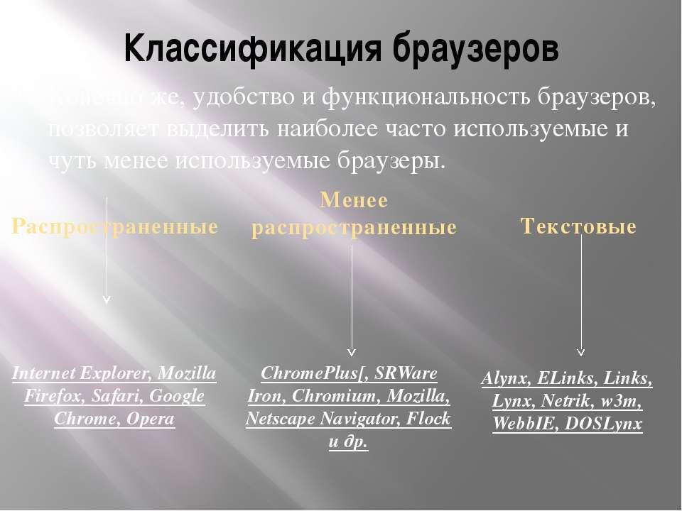 Классификация браузеров Конечно же, удобство и функциональность браузеров, по...
