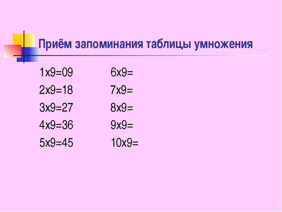 Приём запоминания таблицы умножения 1x9=09 6x9= 2x9=18 7x9= 3x9=27 8x9= 4x9=3...