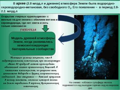 В архее (2.8 млрд.л и древнее) атмосфера Земли была водородно-сероводородно-м...