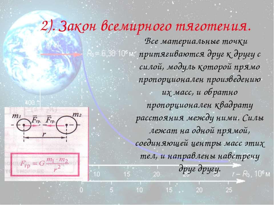 2). Закон всемирного тяготения. Все материальные точки притягиваются друг к д...