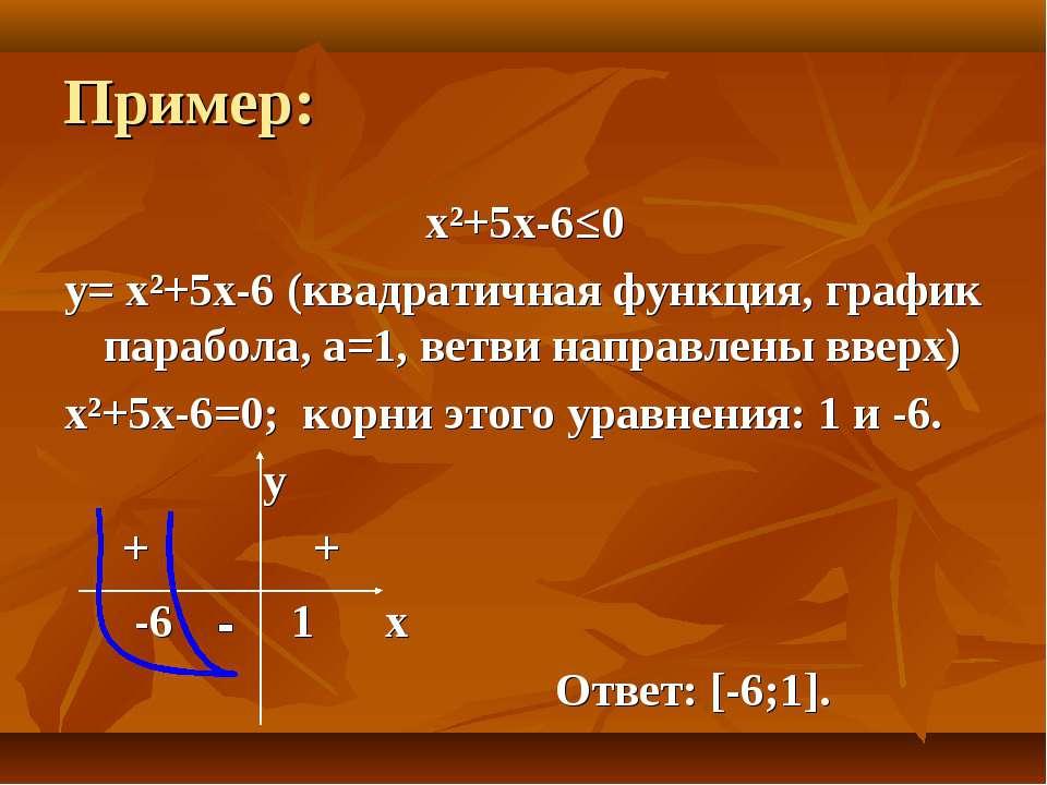 Пример: х²+5х-6≤0 y= х²+5х-6 (квадратичная функция, график парабола, а=1, вет...