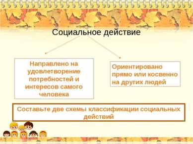 Социальное действие Направлено на удовлетворение потребностей и интересов сам...
