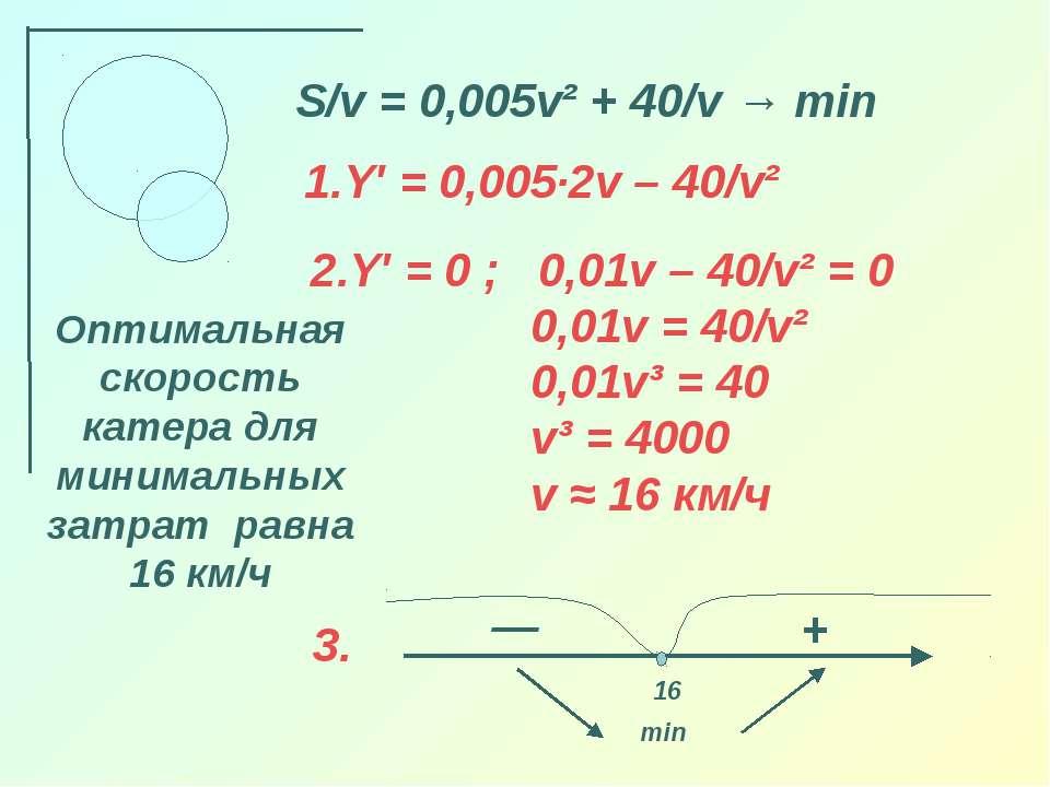 S/v = 0,005v² + 40/v → min Y′ = 0,005·2v – 40/v² — 16 + min Оптимальная скоро...