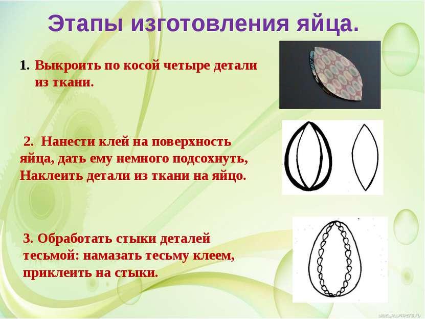 Этапы изготовления яйца. Выкроить по косой четыре детали из ткани. 2. Нанести...