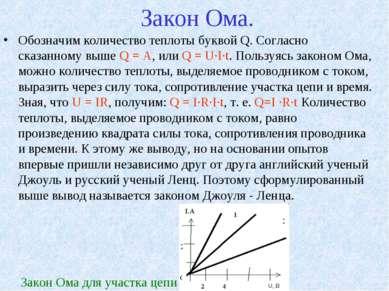Закон Ома. Обозначим количество теплоты буквой Q. Согласно сказанному выше Q ...
