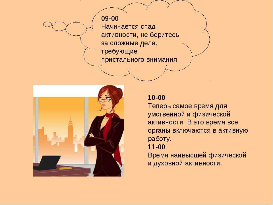 09-00 Начинается спад активности, не беритесь за сложные дела, требующие прис...