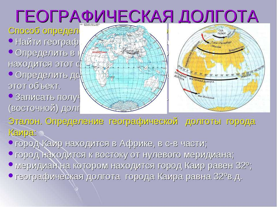 ГЕОГРАФИЧЕСКАЯ ДОЛГОТА Способ определения географической долготы: Найти геогр...