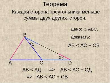 Теорема Каждая сторона треугольника меньше суммы двух других сторон. А В С D ...