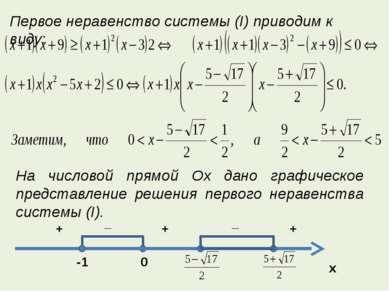 Первое неравенство системы (I) приводим к виду: На числовой прямой Ox дано гр...