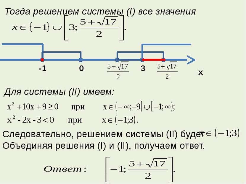 Тогда решением системы (I) все значения Для системы (II) имеем: Следовательно...