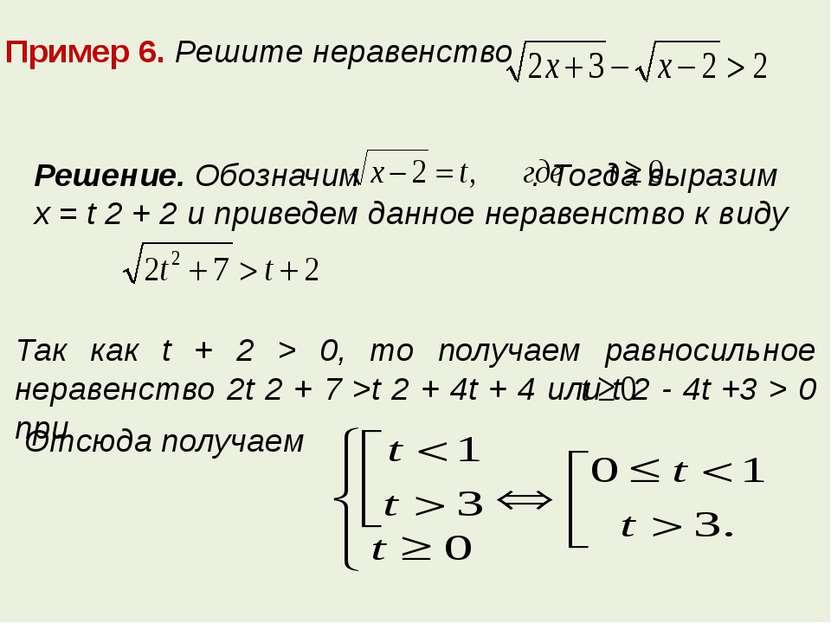 Пример 6. Решите неравенство Решение. Обозначим . Тогда выразим x = t 2 + 2 и...