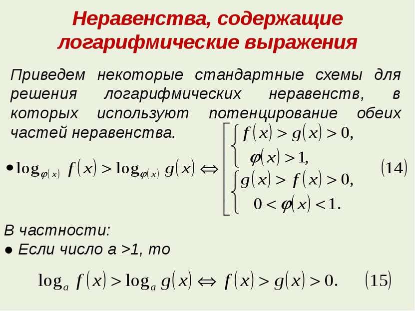 Неравенства, содержащие логарифмические выражения Приведем некоторые стандарт...