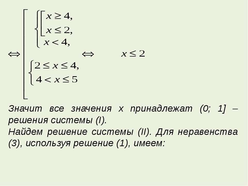 Значит все значения x принадлежат (0; 1] – решения системы (I). Найдем решени...