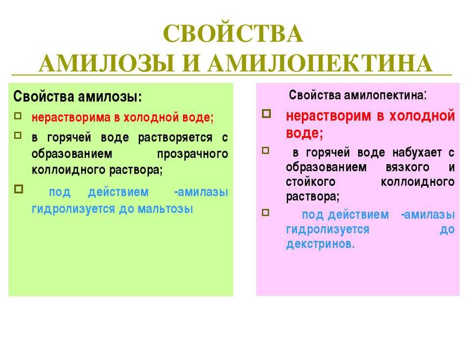 СВОЙСТВА АМИЛОЗЫ И АМИЛОПЕКТИНА Свойства амилозы: нерастворима в холодной вод...