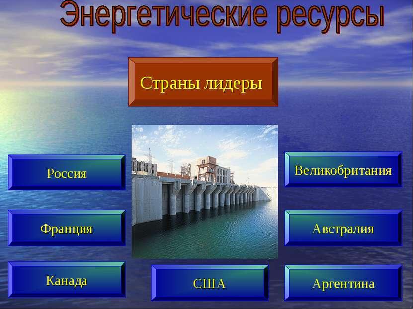 Страны лидеры Россия Франция Канада Великобритания Австралия Аргентина США