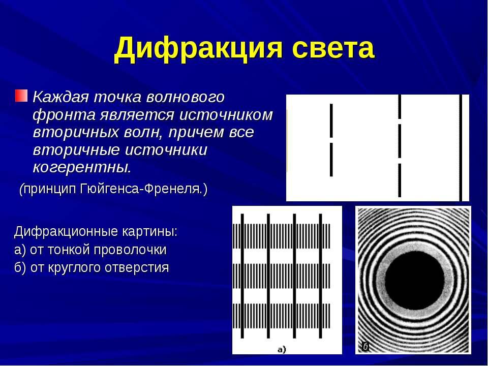 Дифракция света Каждая точка волнового фронта является источником вторичных в...