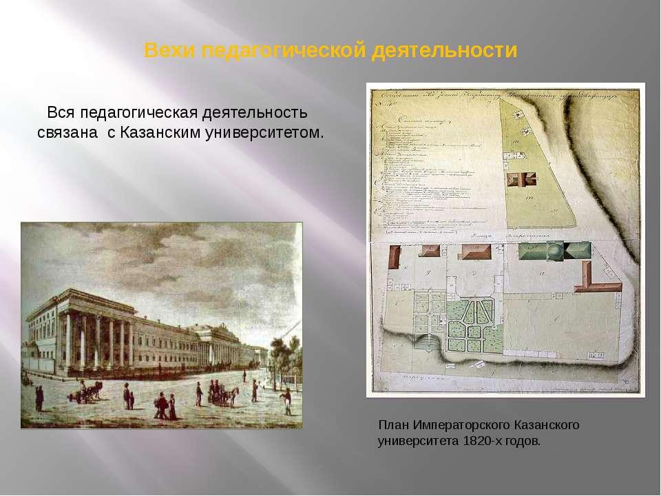 Вехи педагогической деятельности План Императорского Казанского университета ...