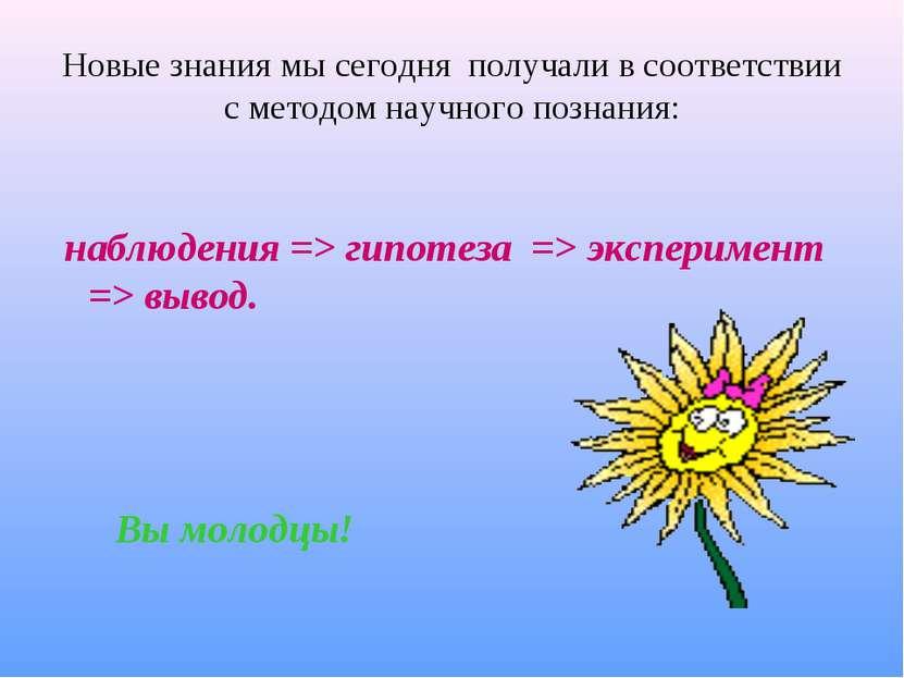 Новые знания мы сегодня получали в соответствии с методом научного познания: ...