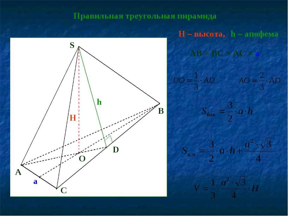 AB = BC = AC = a Правильная треугольная пирамида H – высота, h – апофема A O ...