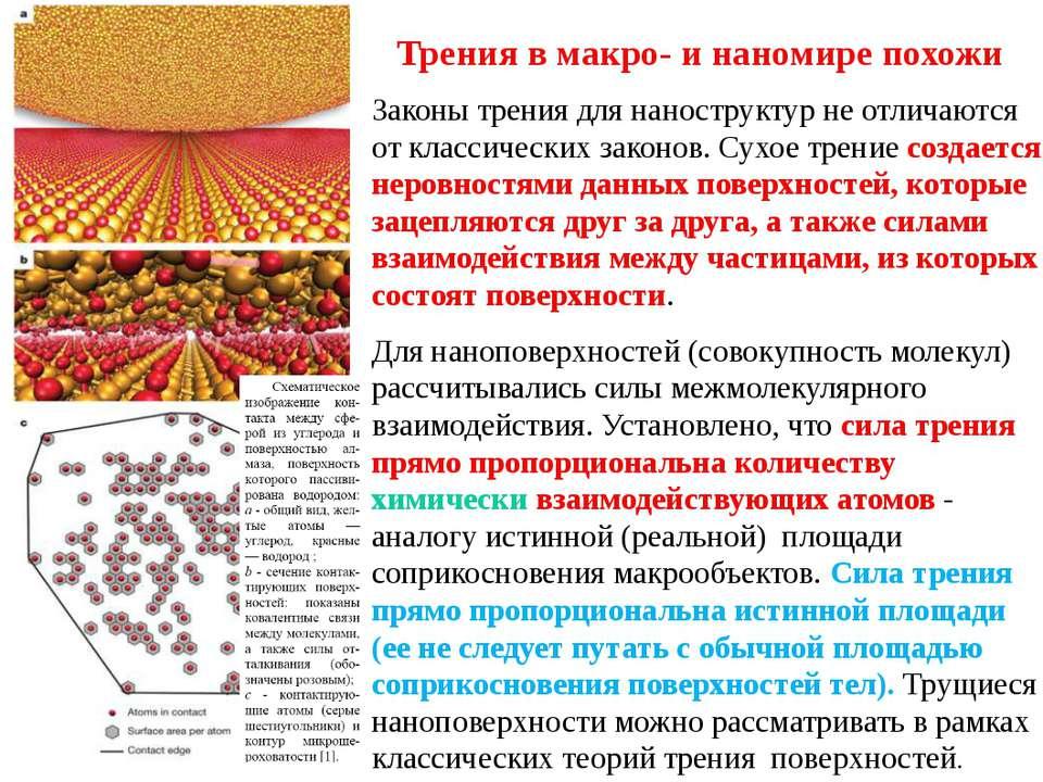 Трения в макро- и наномире похожи Законы трения для наноструктур не отличаютс...