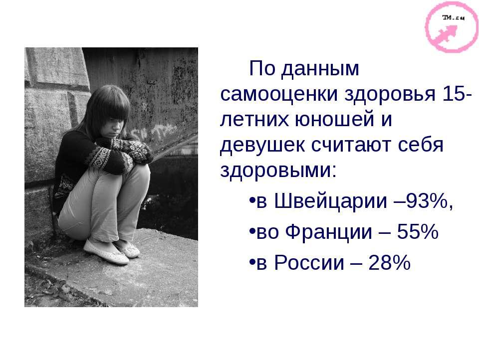 По данным самооценки здоровья 15-летних юношей и девушек считают себя здоровы...