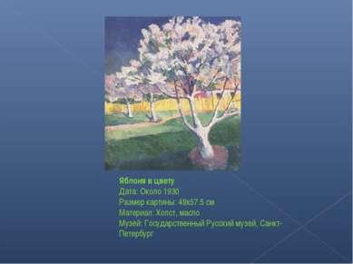 Яблоня в цвету Дата: Около 1930 Размер картины: 49x57.5 см Материал: Холст, м...