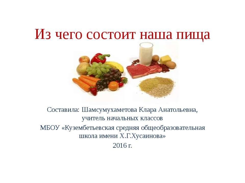 Из чего состоит наша пища Составила: Шамсумухаметова Клара Анатольевна, учите...