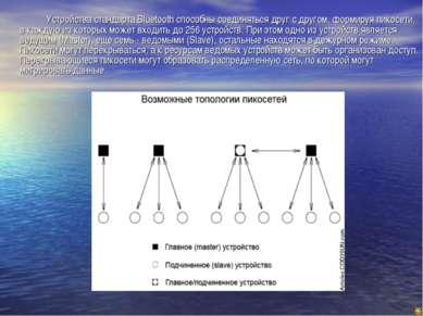 Устройства стандарта Bluetooth способны соединяться друг с другом, формируя п...