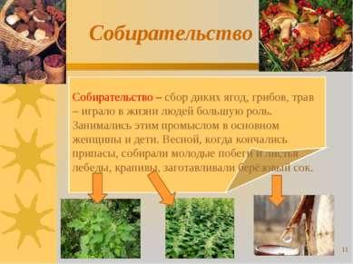 Собирательство Собирательство – сбор диких ягод, грибов, трав – играло в жизн...