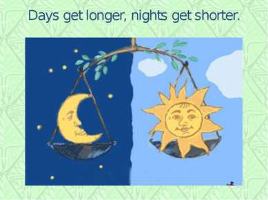 Days get longer, nights get shorter.