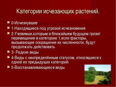 Категории исчезающих растений. 0-Исчезнувшие 1-Находящиеся под угрозой исчезн...