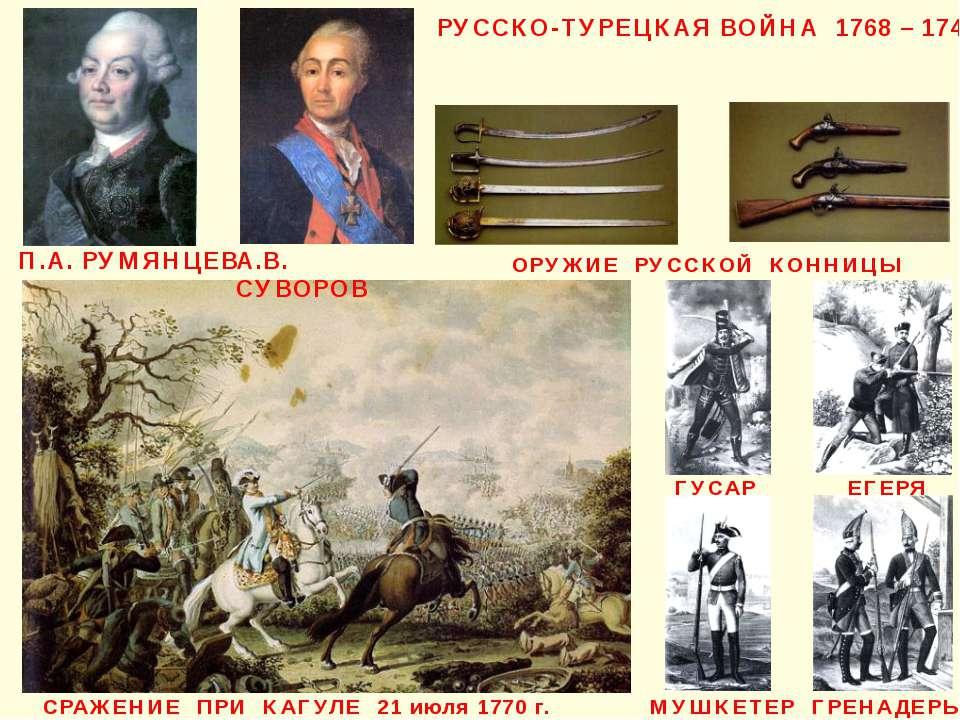 П.А. РУМЯНЦЕВ РУССКО-ТУРЕЦКАЯ ВОЙНА 1768 – 1744 ЕГЕРЯ МУШКЕТЕР ГРЕНАДЕРЫ ОРУЖ...