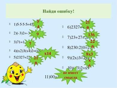 Найди ошибку! 1)5∙5∙5∙5=45 2)(-3)2=-3∙3=-9 3)71=1 4)(х2)3(х4)2=(х6)5=х30 5)23...