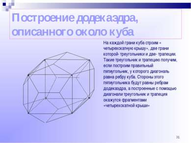 * Построение додекаэдра, описанного около куба На каждой грани куба строим « ...