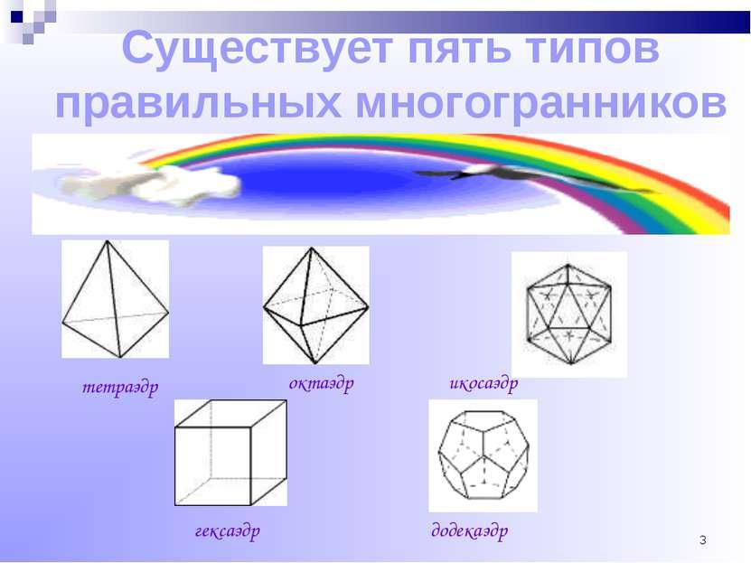 * Существует пять типов правильных многогранников тетраэдр октаэдр икосаэдр г...