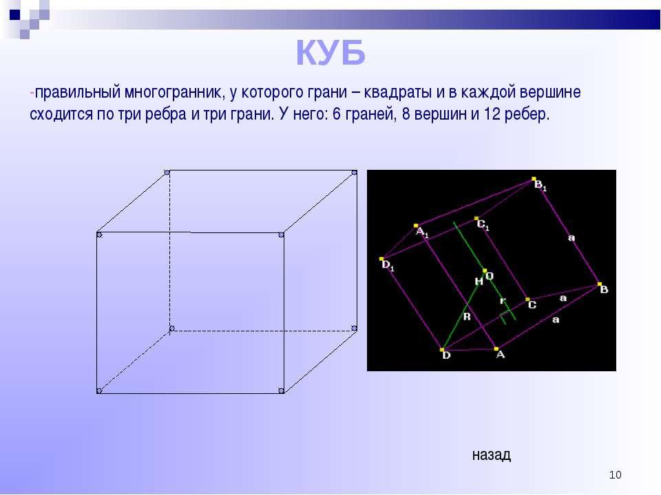 * КУБ -правильный многогранник, у которого грани – квадраты и в каждой вершин...