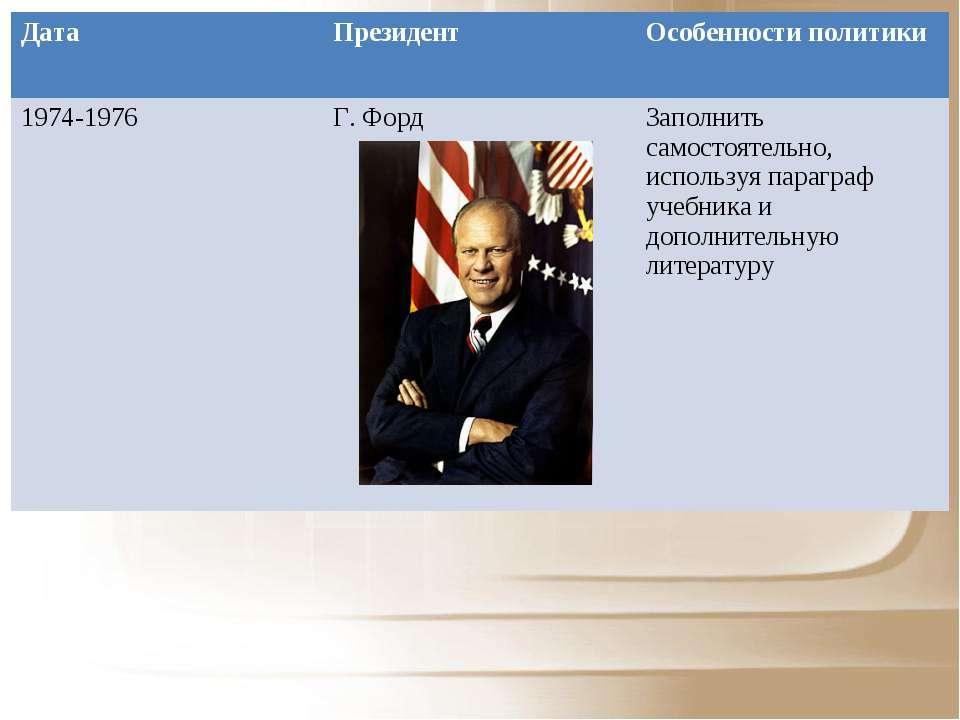 Дата Президент Особенности политики 1974-1976 Г. Форд Заполнить самостоятельн...