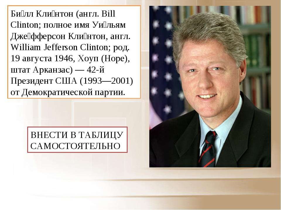 Би лл Кли нтон (англ. Bill Clinton; полное имя Уи льям Дже фферсон Кли нтон, ...
