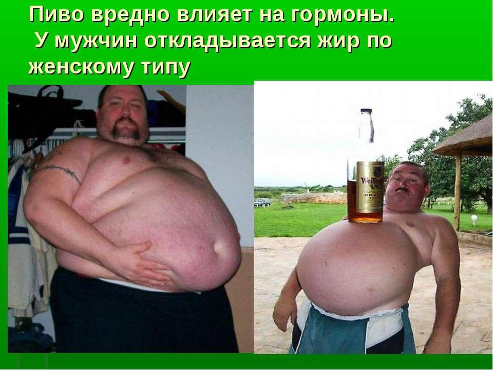 Пиво вредно влияет на гормоны. У мужчин откладывается жир по женскому типу
